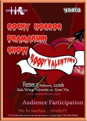 Cartel del espectaculo especial de San Valentin